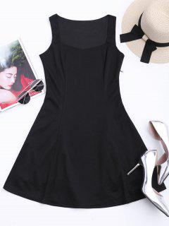 Sleeveless Sweetheart Mini Skater Dress - Black 2xl