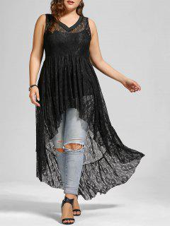 High Low See Through Lace Plus Size Top - Black 5xl