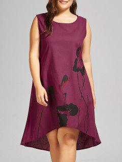 Plus Size Ink Painting High Low Tank Dress - Dark Red 5xl