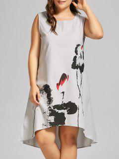 Plus Size Ink Painting High Low Tank Dress - Light Grey 3xl