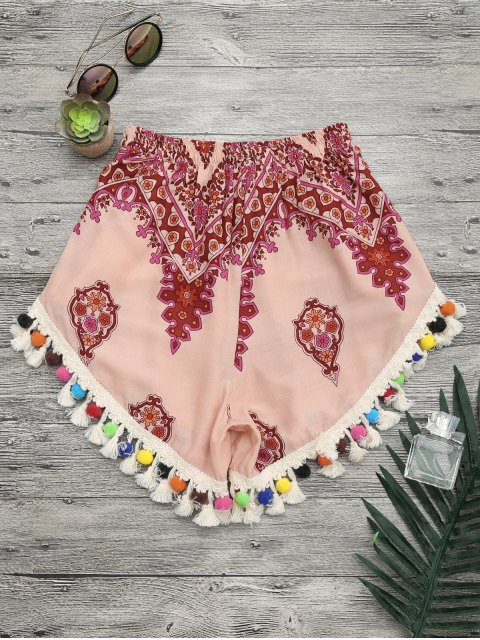 outfits Pom Pom Beach Cover Up Shorts - MULTICOLOR M Mobile