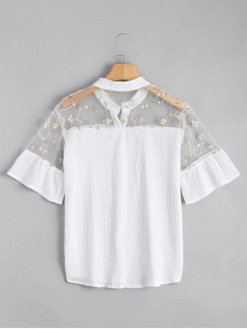 online Voile Panel Embroidered Ruffles Top - WHITE L Mobile