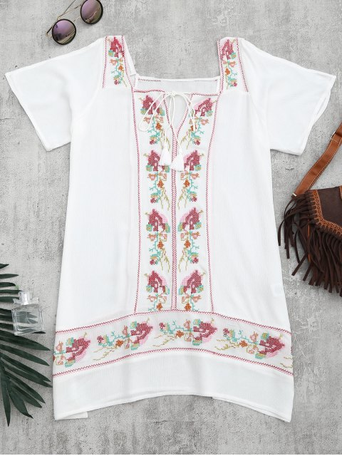 trendy Embroidered Beach Tunic Dress Cover Up - WHITE L Mobile