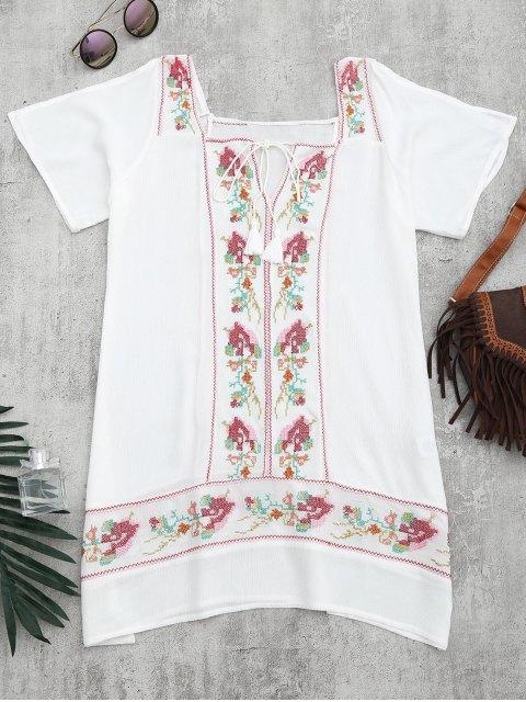 Robe de mariée bordée de la tunique de plage - Blanc M Mobile