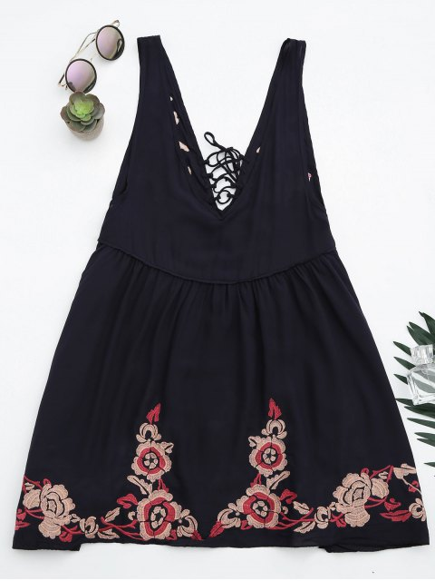 fancy Embroidered Tank Dress Beach Cover Up - PURPLISH BLUE L Mobile