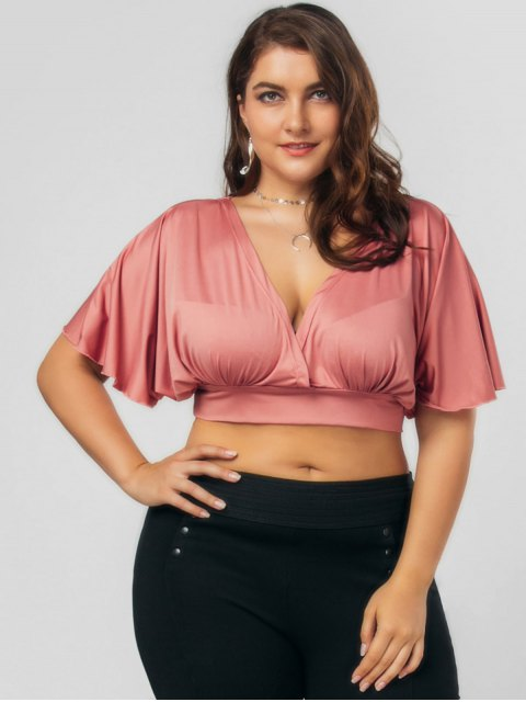 women Plus Size Bowknot Cropped Top - RUSSET-RED 4XL Mobile