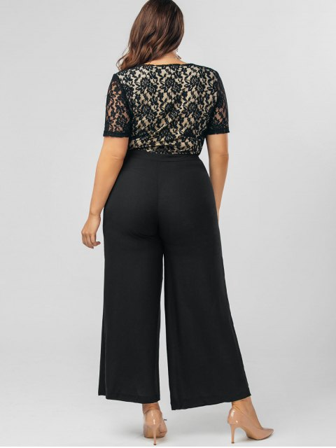 best Plus Size Bowknot Lace Panel Jumpsuit - BLACK 3XL Mobile