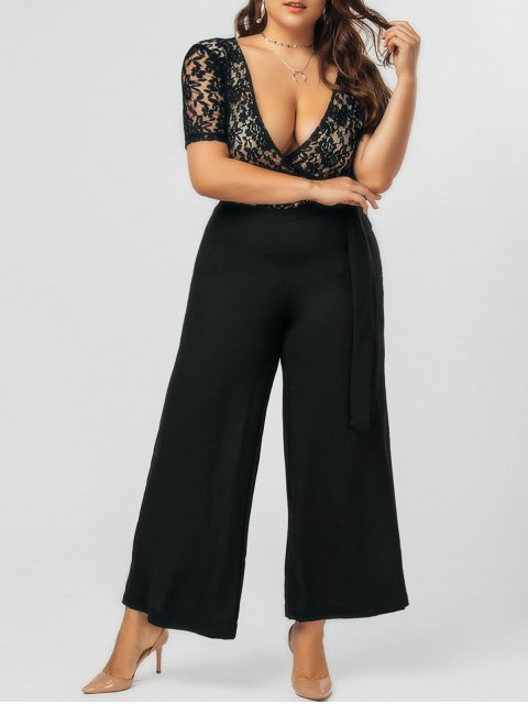 best Plus Size Bowknot Lace Panel Jumpsuit - BLACK 3XL Mobile