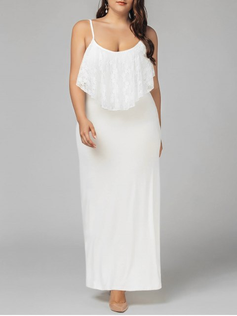 outfit Plus Size Lace Panel Ruffles Prom Dress - WHITE 2XL Mobile