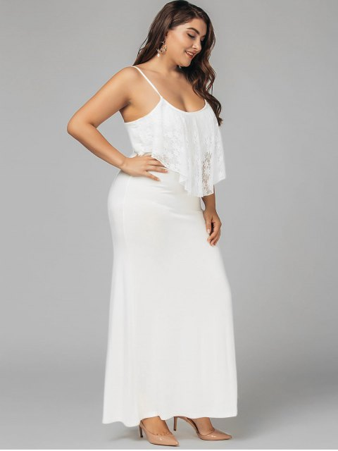 outfits Plus Size Lace Panel Ruffles Prom Dress - WHITE 3XL Mobile