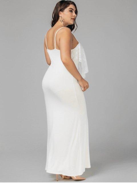 shops Plus Size Lace Panel Ruffles Prom Dress - WHITE 5XL Mobile