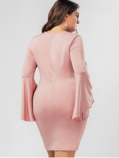 chic Flare Sleeve Plus Size Lace Up Bodycon Dress - PINK 4XL Mobile