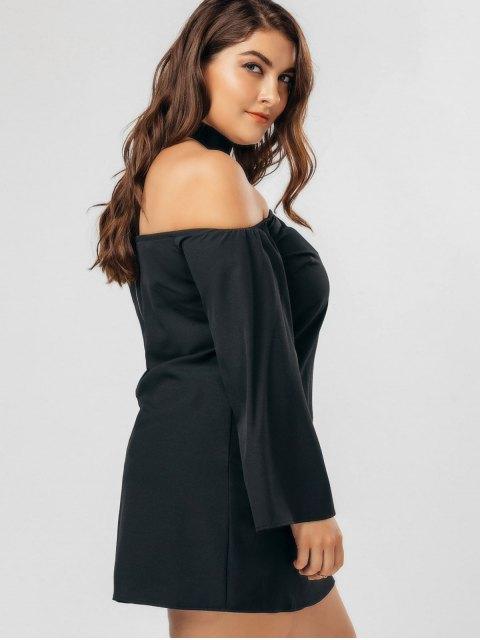 Robe en mousseline de soie à taille grande avec un collier ras-du-cou - Noir 3XL Mobile