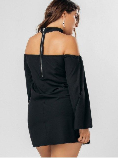 Robe en mousseline de soie à taille grande avec un collier ras-du-cou - Noir 4XL Mobile