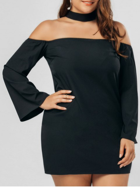 best Plus Size Zipper Choker Chiffon Dress - BLACK 5XL Mobile
