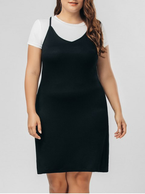 new Top Panel Two Tone Plus Size Dress - BLACK 2XL Mobile