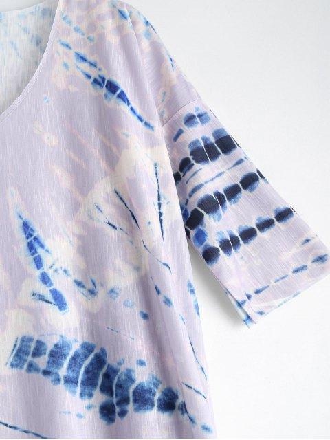 shop Tie Dye Beach Long Dress Cover Up - PURPLE L Mobile