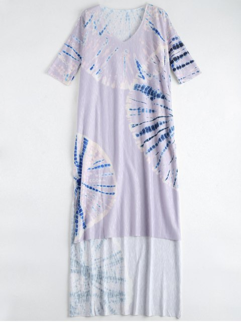 latest Tie Dye Beach Long Dress Cover Up - PURPLE S Mobile