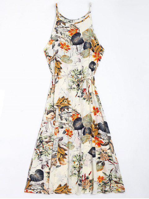 trendy Floral Leaves Print High Slit Maxi Dress - FLORAL S Mobile