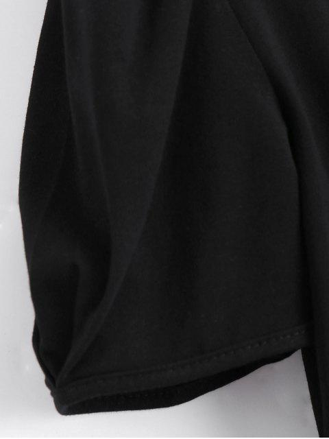 new Padded Shoulder Elastic Waist Cropped Top - BLACK ONE SIZE Mobile