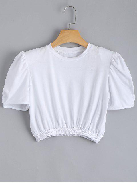 hot Padded Shoulder Elastic Waist Cropped Top - WHITE ONE SIZE Mobile
