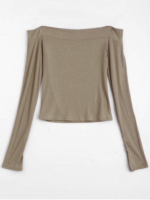 Gestrickte Rippe von der Schulter Oberseite - Khaki M Mobile