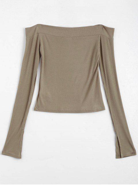 outfits Knitted Ribbed Off Shoulder Top - KHAKI S Mobile