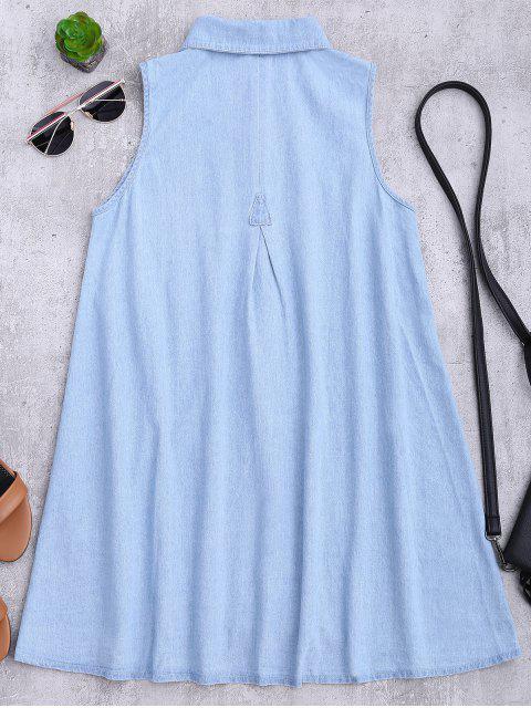 women Sleeveless Denim Shift Shirt Dress - LIGHT BLUE S Mobile