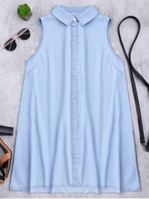 ladies Sleeveless Denim Shift Shirt Dress - LIGHT BLUE L Mobile
