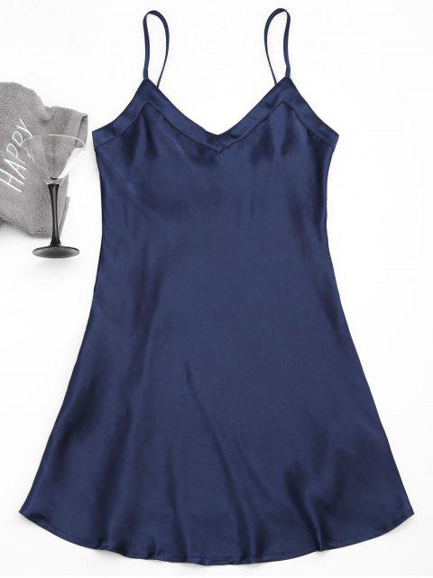 new Cami Satin Babydoll Dress - PURPLISH BLUE L Mobile