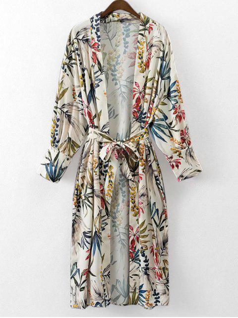 Kimono Bluse mit Gürtel und Blumenmuster - Blumen S Mobile