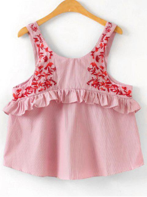 ladies Loose Ruffles Embroidered Tank Top - STRIPE L Mobile