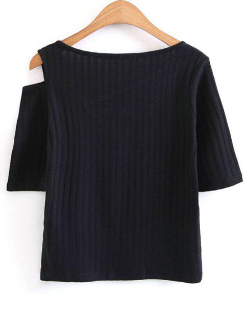 online Knitted Cut Out Cold Shoulder Top - BLACK L Mobile