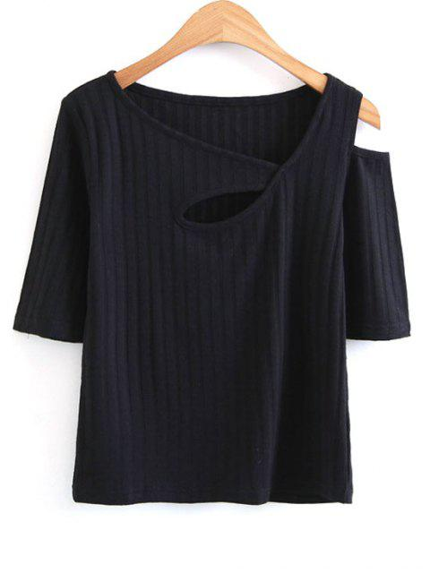 hot Knitted Cut Out Cold Shoulder Top - BLACK S Mobile