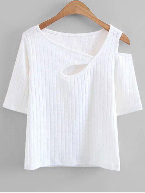 Gestrickte Ausschnitt Kaltes Schulteroberteil - Weiß L Mobile