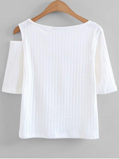shop Knitted Cut Out Cold Shoulder Top - WHITE S Mobile