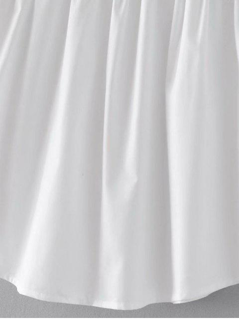 shops Floral Embroidered Cold Shoulder Poplin Top - WHITE L Mobile