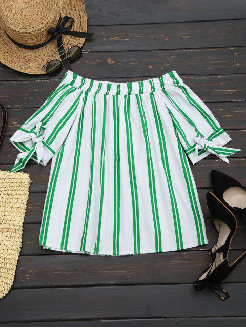fashion Off The Shoulder Striped Blouse - WHITE XL Mobile