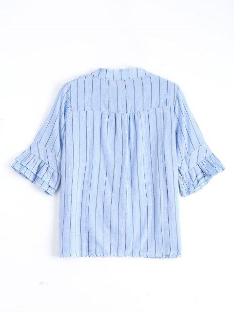 chic Button Up Flare Sleeve Striped Blouse - LIGHT BLUE ONE SIZE Mobile