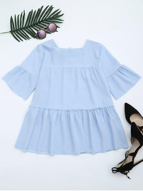 affordable Flare Sleeve Ruffle Trim Bowtie Blouse - LIGHT BLUE ONE SIZE Mobile