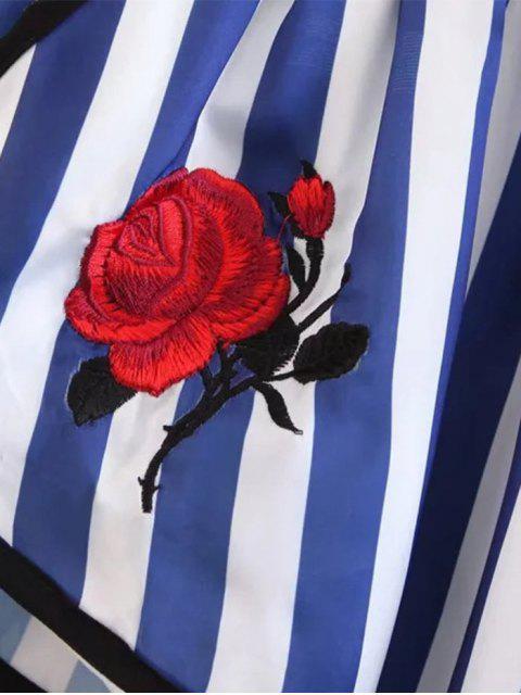 Stripes Floral Brodé Drawstring Shorts - Rayure M Mobile