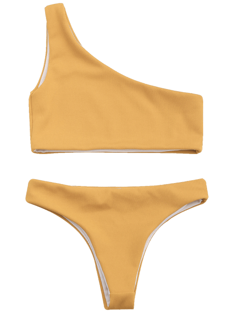 ladies Ribbed Texture One Shoulder Bikini - EARTHY M Mobile
