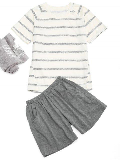 Raglan Sleeve Gestreiftes T-Shirt Und Pocket Shorts - Beige (Weis) XL  Mobile
