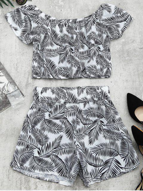 Top und Shorts Set mit Blätter Druck - Weiß & Schwarz M Mobile