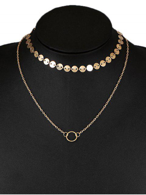 Collier pendentif à col abordé en forme de cercle - Or  Mobile