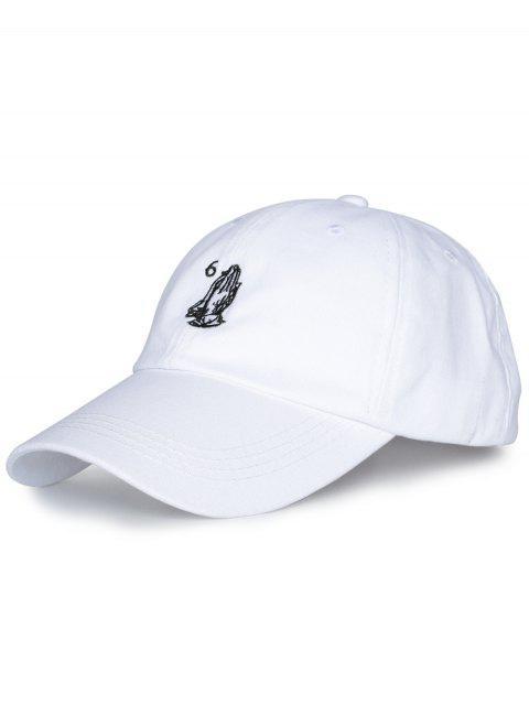 Zahl Palmen Stickerei Baseball Kappe - Alles Weiß  Mobile