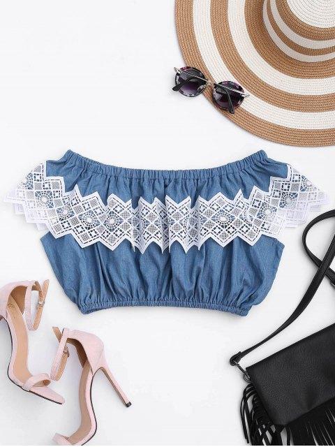 sale Lace Panel Off Shoulder Cropped Top - DENIM BLUE L Mobile