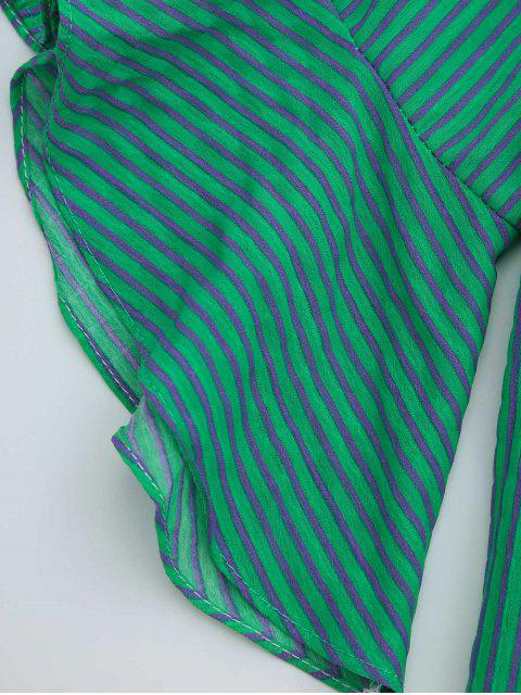 womens Flounce Off The Shoulder Striped Blouse - GREEN ONE SIZE Mobile