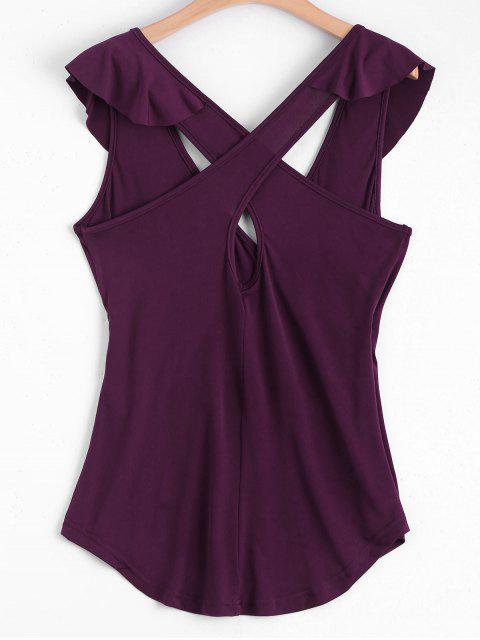 fashion Ruffled Criss Cross Tank Top - WINE RED S Mobile