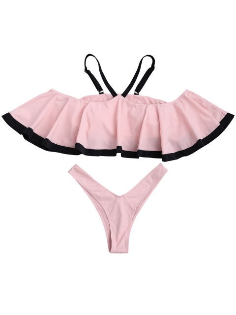 buy Cami Ruffles Padded Thong Bathing Suit - SHALLOW PINK S Mobile